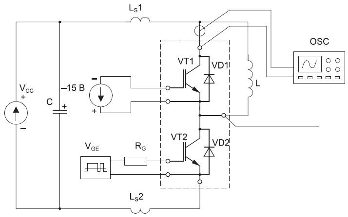 Схема дляизмерения динамических параметров оппозитного диода VD1