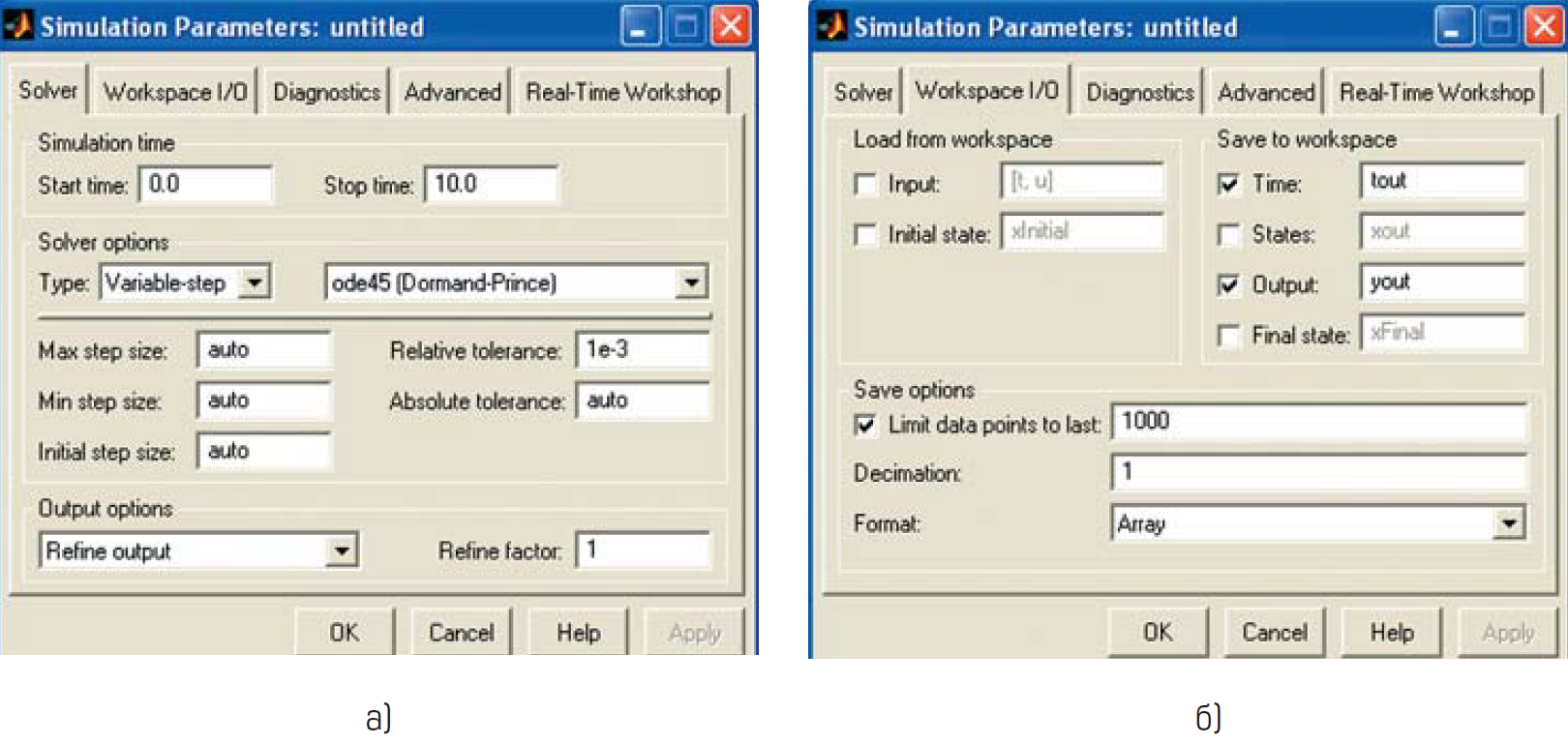 Окно настройки параметров моделирования решателя Solver и ввода/вывода данных в рабочее пространство