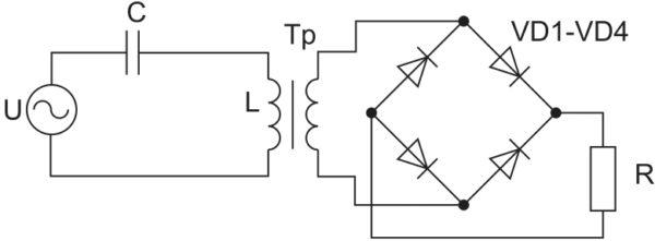 Эквивалентная схема ИЕП с выпрямлением тока нагрузки