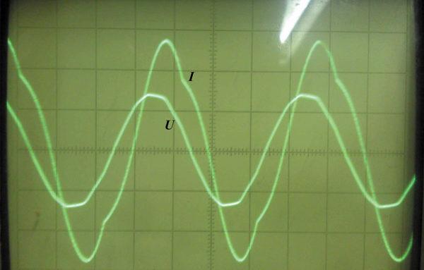 Осциллограмма входных тока и напряжения ТЕП (схема № 1) при заряде АКБ