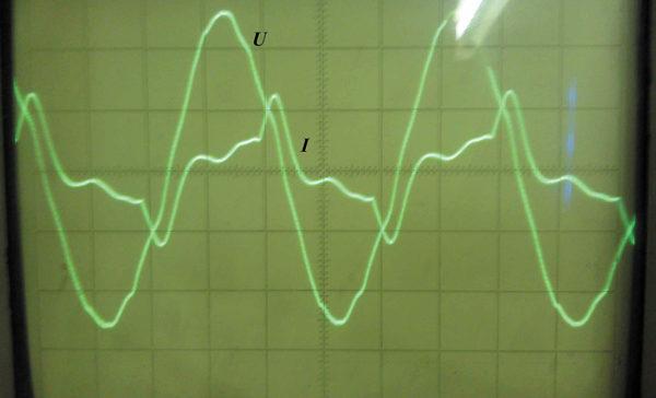 Осциллограмма входных тока и напряжения ТЕП (схема № 2) при заряде АКБ