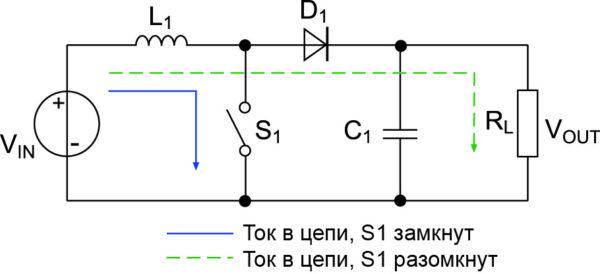 Повышающий импульсный стабилизатор, упрощенная схема