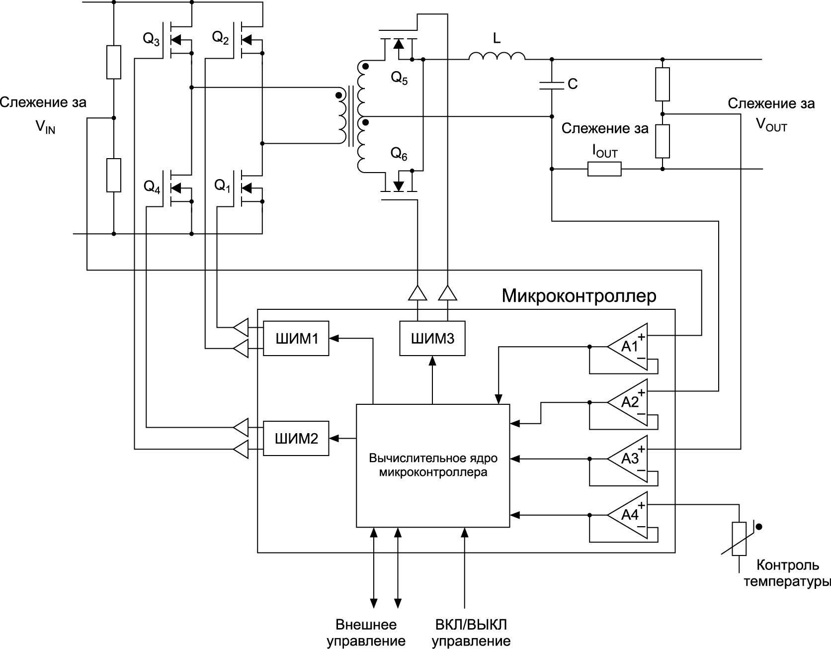 DC/DC-преобразователь с цифровым управлением, выполненный на базе микроконтроллера