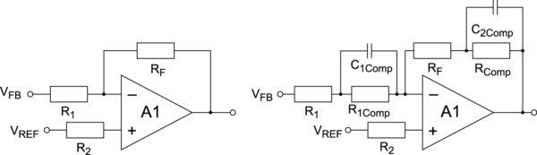 Некомпенсированный (слева) и компенсированный (справа) усилитель ошибки