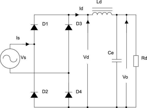 Однофазный мостовой выпрямитель с линейной LC-фильтрацией Id, Vd