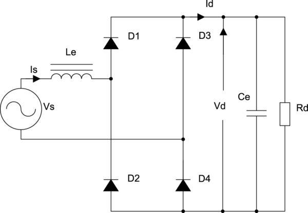 Однофазный мостовой выпрямитель с нелинейной LC-фильтрацией Id,Vd