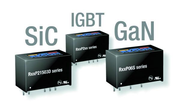 Серии изолированных DC/DC-преобразователей компании RECOM с двумя выходными напряжениями для питания драйверов затвора IGBT-, SiC- или GaN-транзисторов с плавающим напряжением