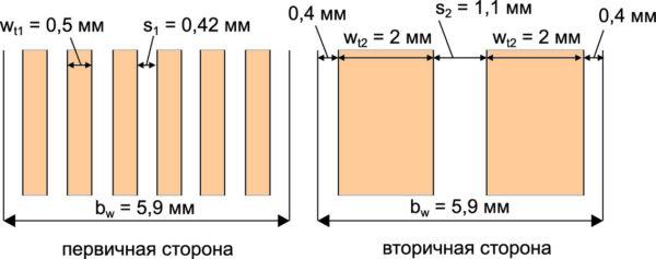Расчетные значения топологии первичной и вторичной обмоток