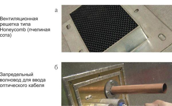 Конструкции из запредельных волноводов: <br />а) вентиляционная решетка типа Honeycomb (пчелиная сота); <br />б) для ввода оптического кабеля