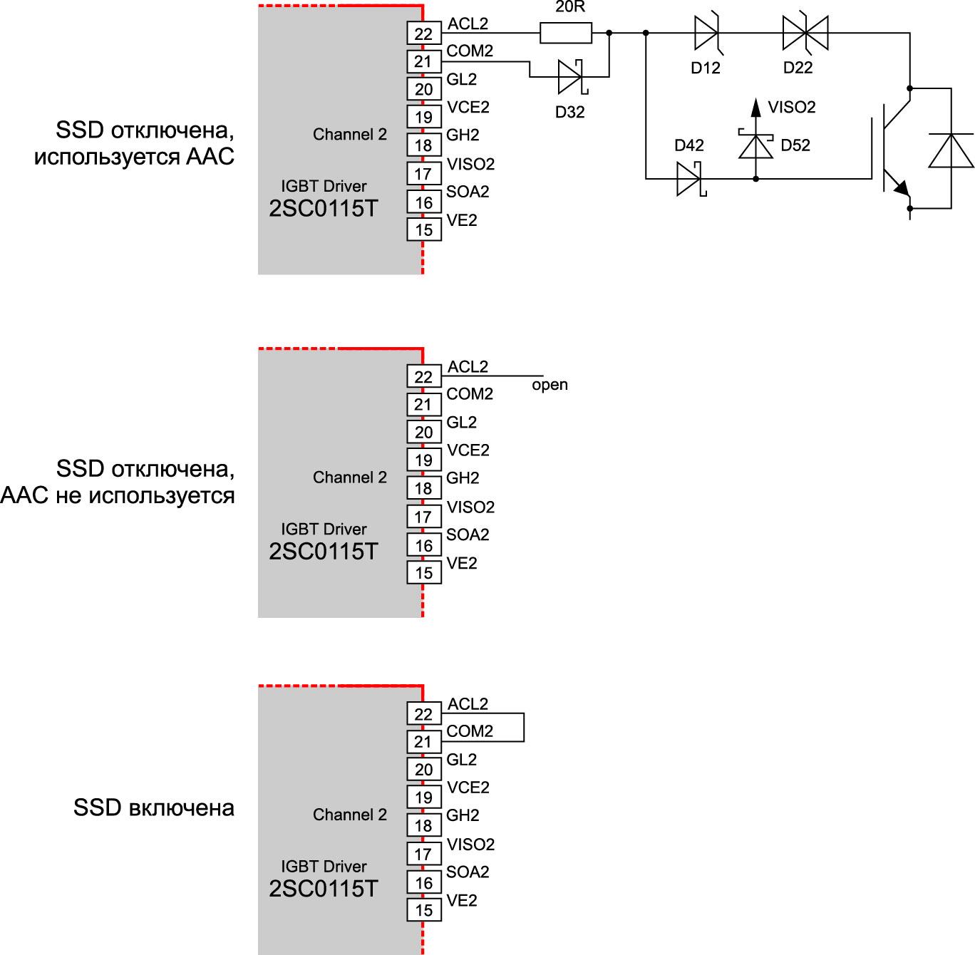 Схемы активации/деактивации функций SSD и AAC драйвера 2SC0115T