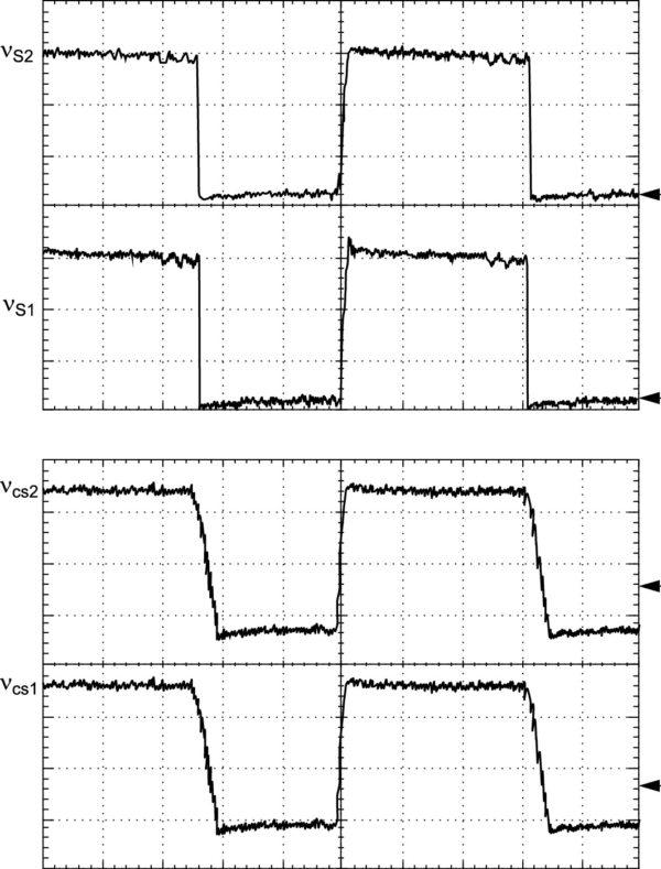 Экспериментально полученные диаграммы напряжений: vs1 и vs2 (100 В/дел.) (а); vcs1 и vcs2 (100 В/дел.); развертка: 5 мкс/дел.