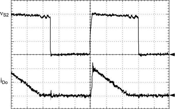 Экспериментально полученные диаграммы токов и напряжений: vs2 (100 В/дел.) и iDo (2 A/дел.); развертка: 5 мкс/дел.