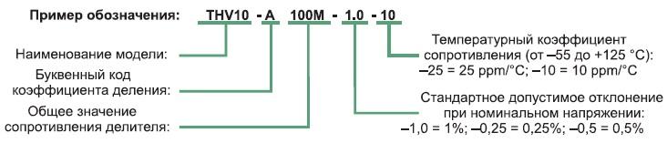 Расшифровка маркировки компонентов серии THV
