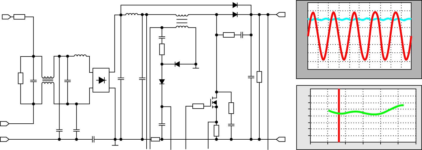 Пример моделирования схемы с формами сигналов во временной области и частотной характеристикой