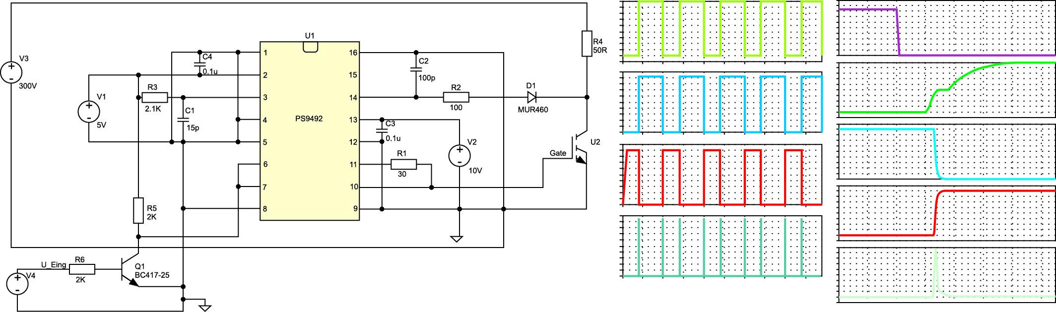 Пример моделирования схемы (содержащей оптопару, интегральную схему управления IGBT и сам IGBT) с формами сигналов во временной области и частотными характеристиками