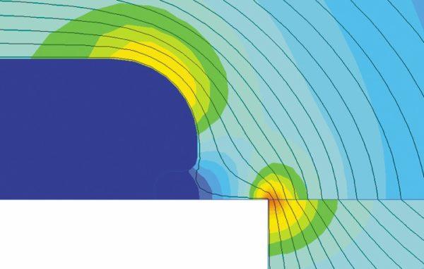 Распределение напряженности электрического поля при длине высоковольтного электрода 140 мм