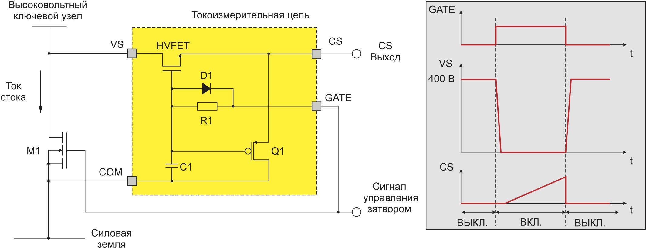 Новая схема измерения тока по RDS(on) или VCE(on)