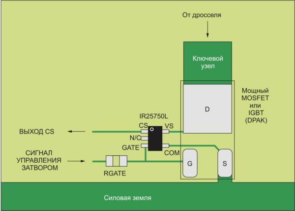Типичная компоновка печатной платы с ИС IR25750L
