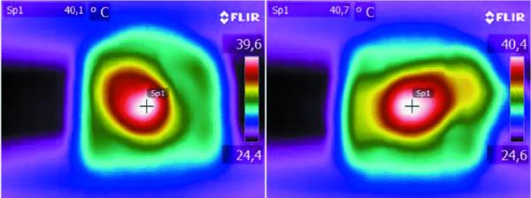 Тепловой профиль сравниваемых катушек