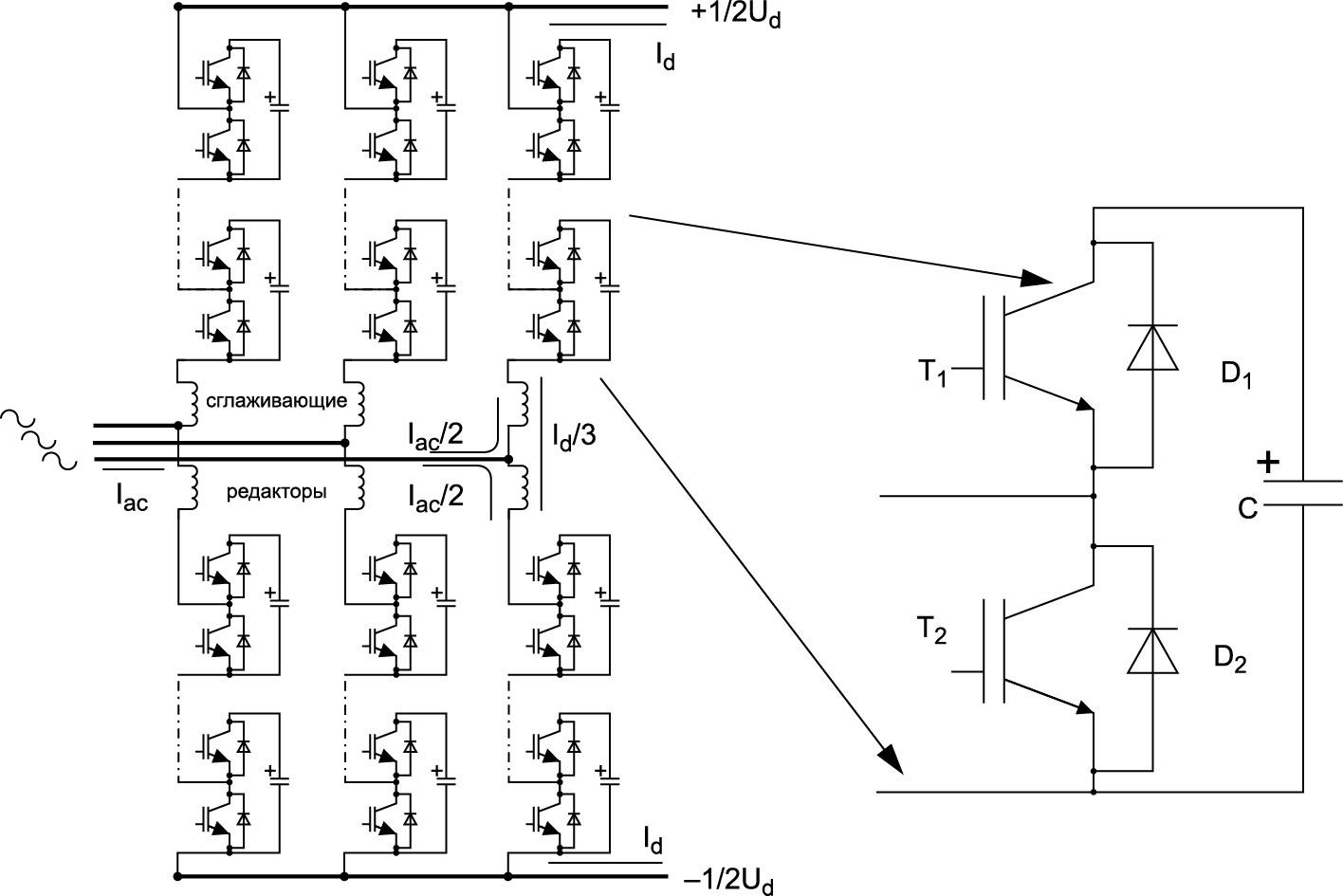 Топология MMC-преобразователя с полумостовой ячейкой [3].