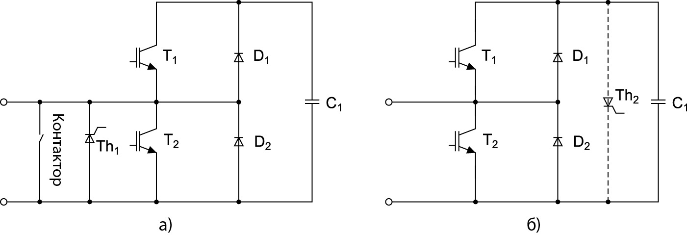 Электрическая схема типовой ячейки преобразователя на основе PMI-модуля и предлагаемая конфигурация ячейки на базе press-pack-компонентов