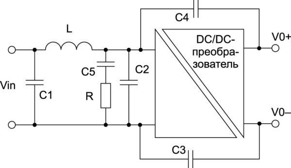 Компоненты, обычно используемые для фильтрации ЭМП DC/DC-преобразователя