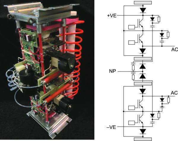 Типовая сборка одной фазы преобразователя на ток 1600 А и напряжение 3,3 кВ трехуровневой NPT-конфигурации на базе IGBT T2400EB450 и диода E2400TC45C семейства HP sonic FRD