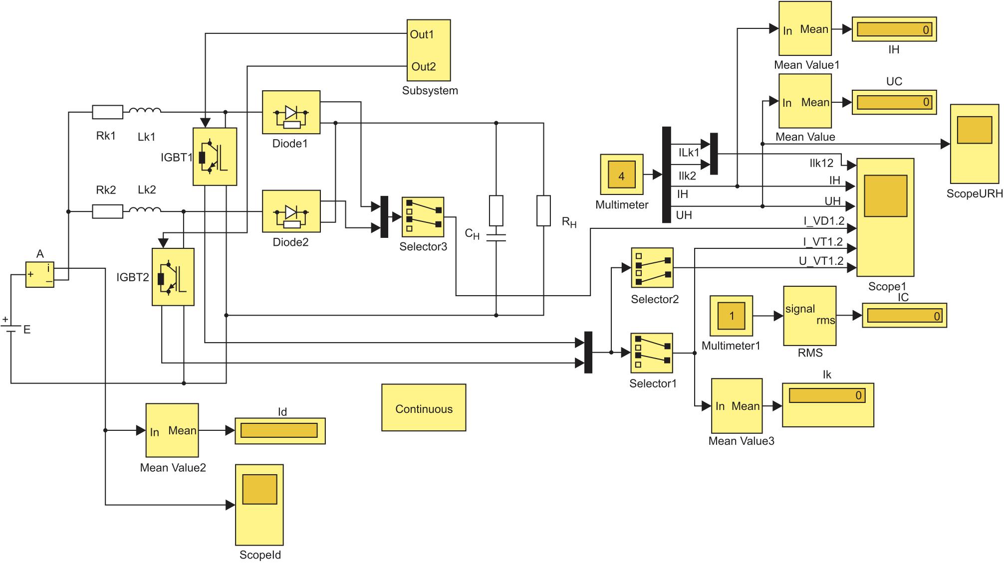 Simulink-модель двухфазного повышающего конвертера