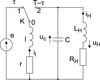 Эквивалентная схема инвертирующего импульсного преобразователя при  ключе К в положении «1»