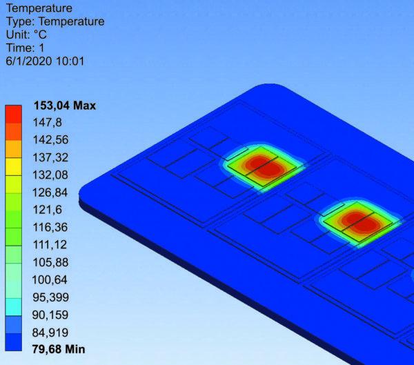 Результаты расчета температурных полей параллельно соединенных чипов IGBT