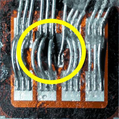 Локальное расплавление полупроводниковой структуры IGBT в результате шнурования тока