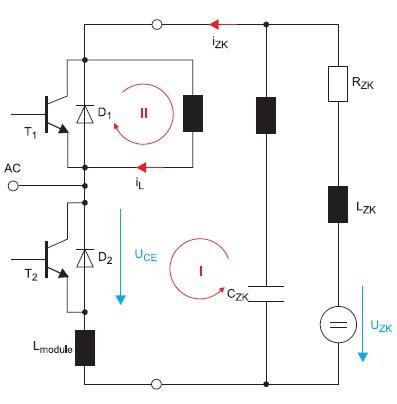 Упрощенная схема полумостового каскада с распределенными индуктивностями
