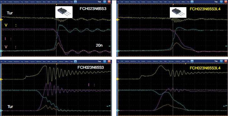 Осциллограммы, позволяющие сравнить процессы переключения длякорпуса ТО247 и ТО247 с контактом Кельвина