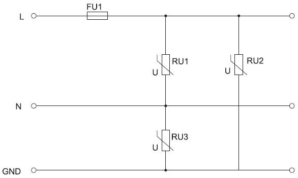 Схема УЗИП набазе «варисторного треугольника»