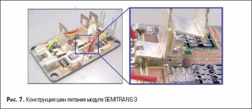 Конструкция шин питания модуля SEMITRANS 3