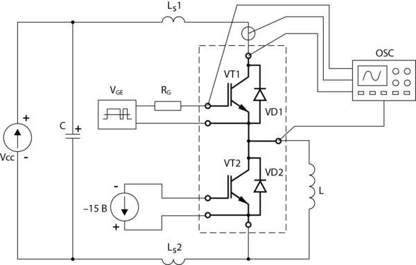 Упрощенная схема для измерений динамических параметров IGBT и FRD