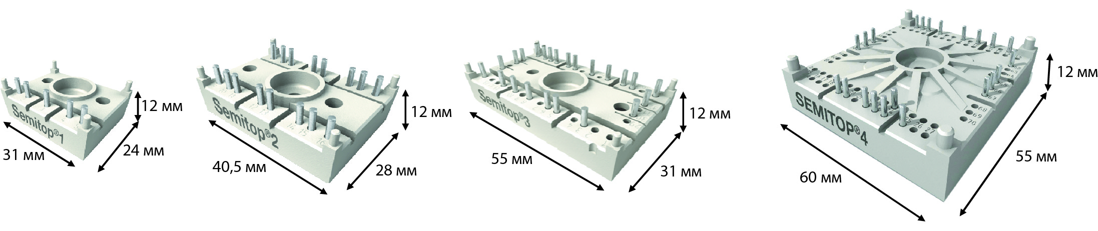 Типы корпусов модулей SEMITOP