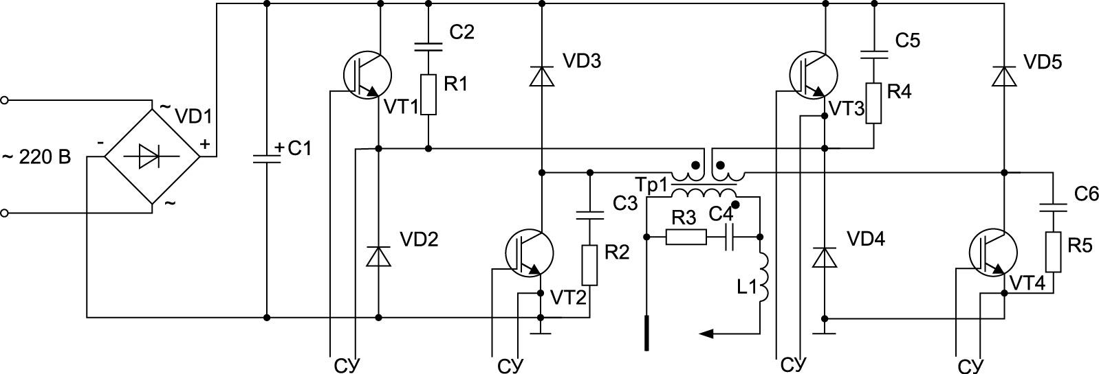 Схема инверторного сварочного аппарата знакопеременного тока