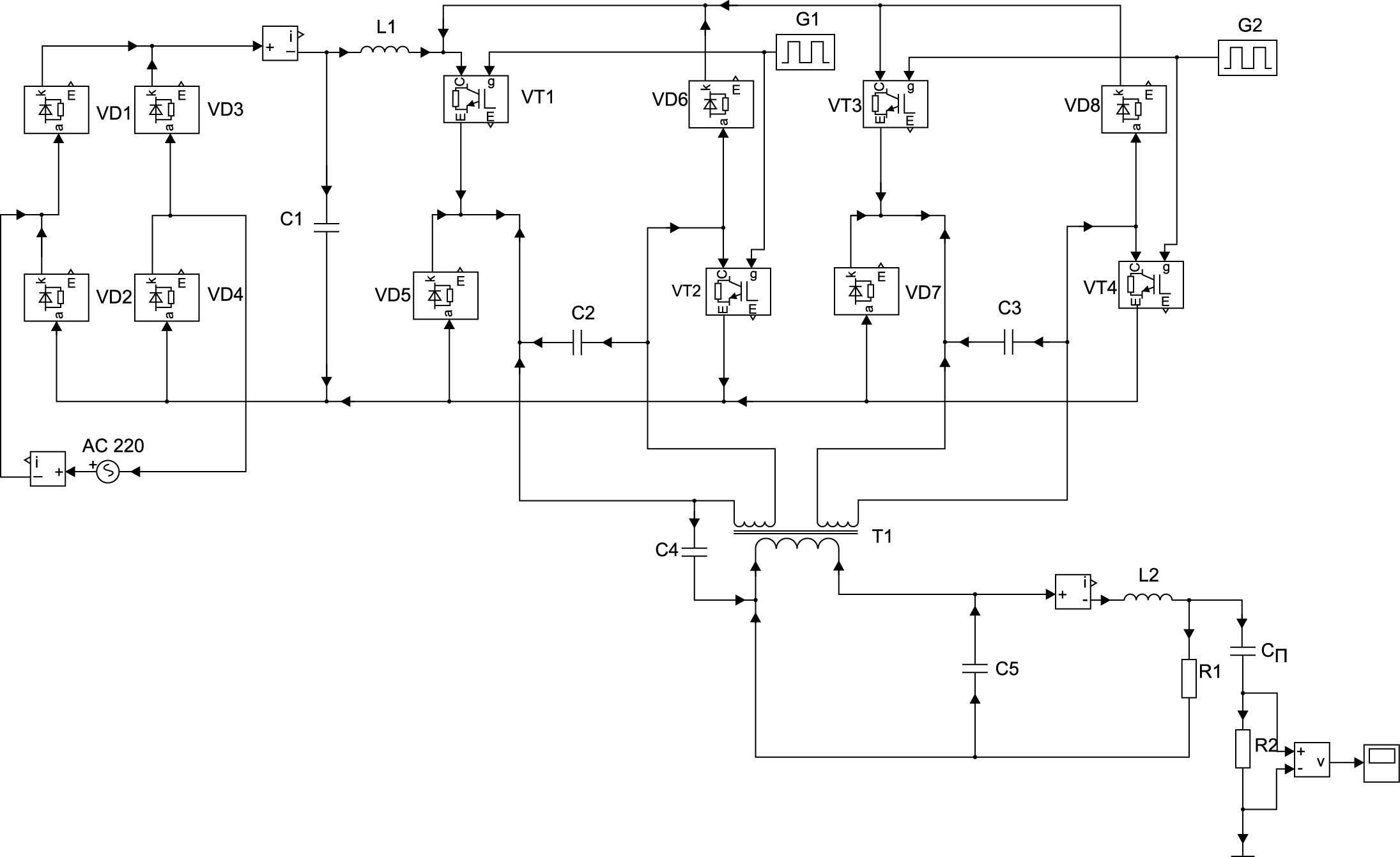 Модель ИСА знакопеременного тока в среде MATLAB SymPower System
