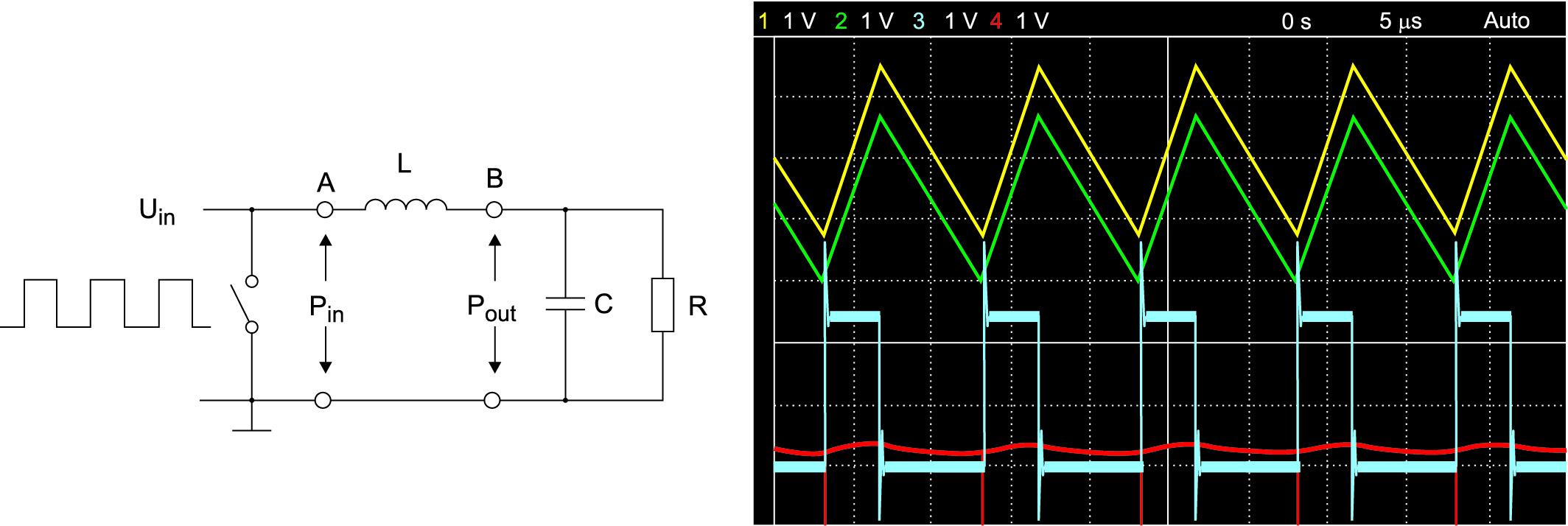 Эквивалентная схема DC/DC-конвертера для расчета потерь и результирующие формы сигналов