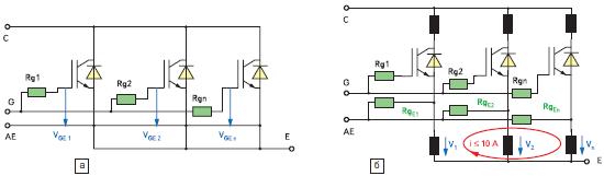 Варианты параллельного соединения управляющих входов IGBT