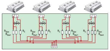 Параллельное соединение входов управления IGBT