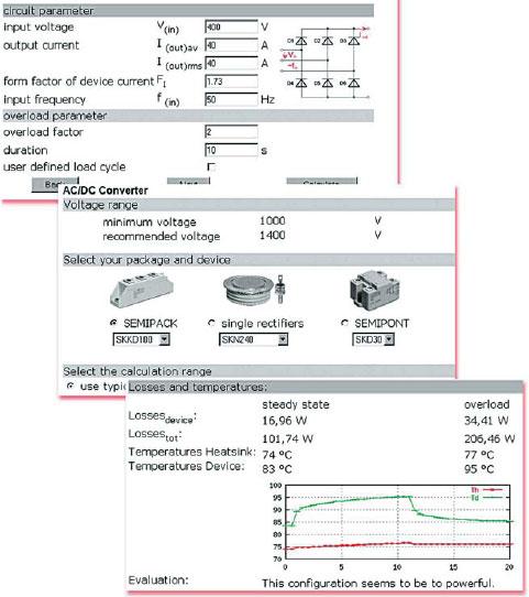Окна меню программы теплового расчета SemiSel