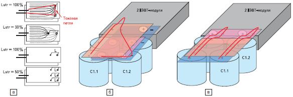 Влияние положения выводов конденсаторов на величину паразитной индуктивности
