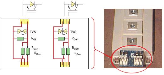 Схема и внешний вид платы согласования входов управления модуля IGBT (полумост)