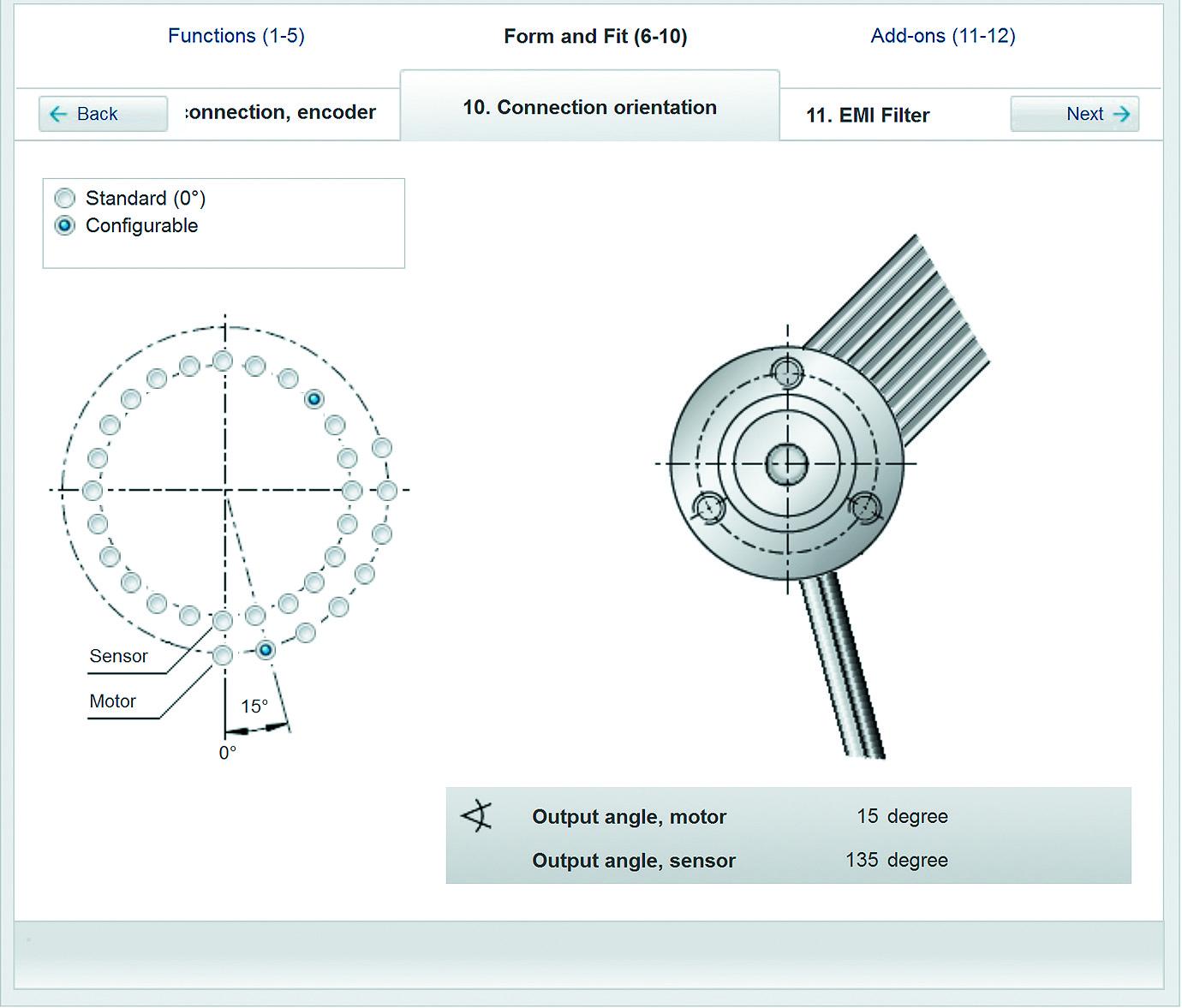 Настройка расположения проводов двигателя и кабеля энкодера