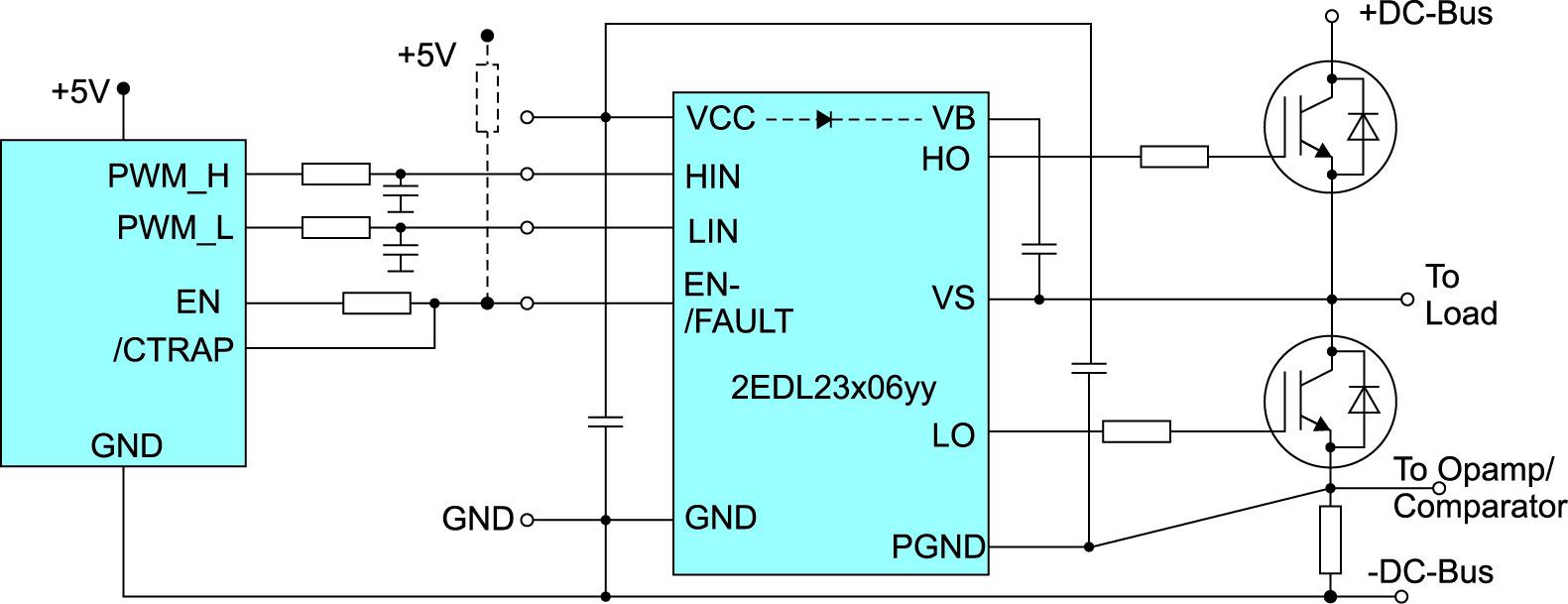 Схема включения драйверов 2EDL23x06yy на 2,3 А