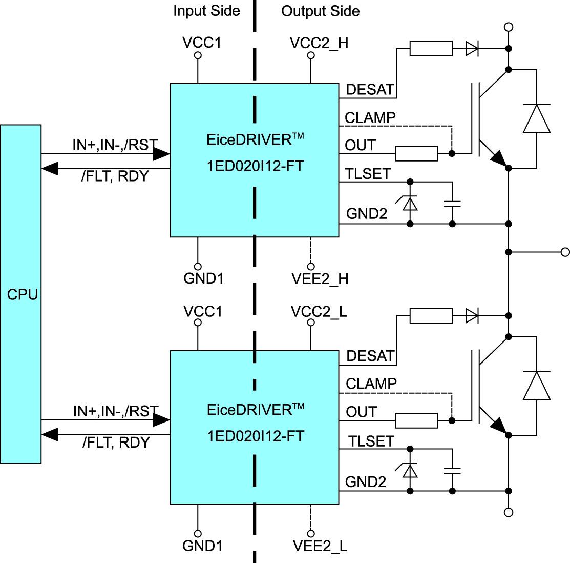 Типовая схема включения драйверов 1ED020I12-FT для управления полумостом