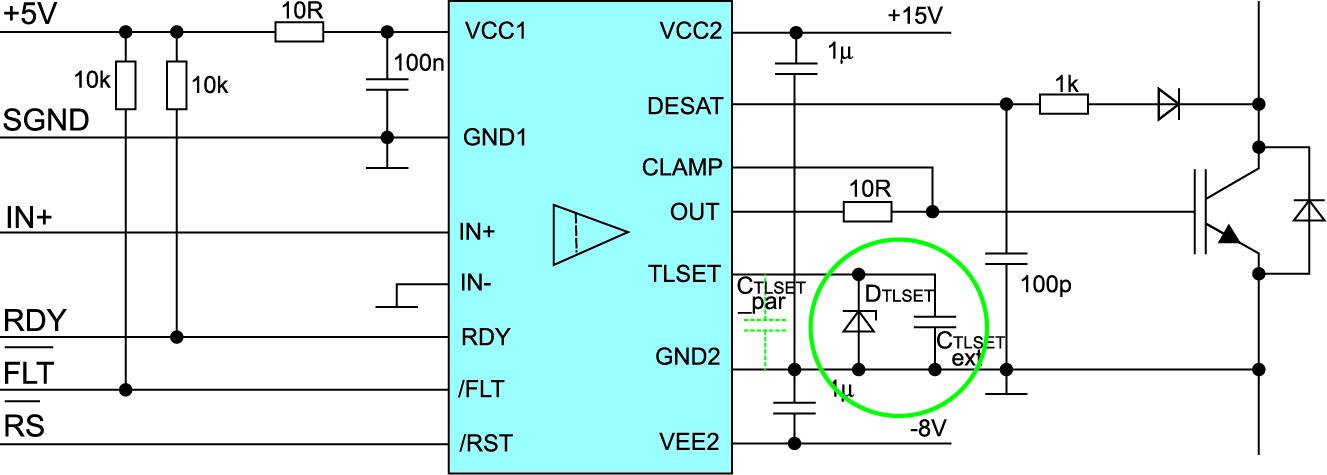 Установка параметров «мягкого» выключения по выводу TLSET