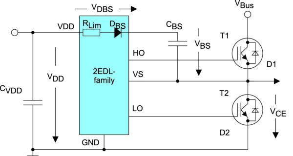 Встроенный быстрый диод подкачки и резистор для питания верхнего канала драйвера